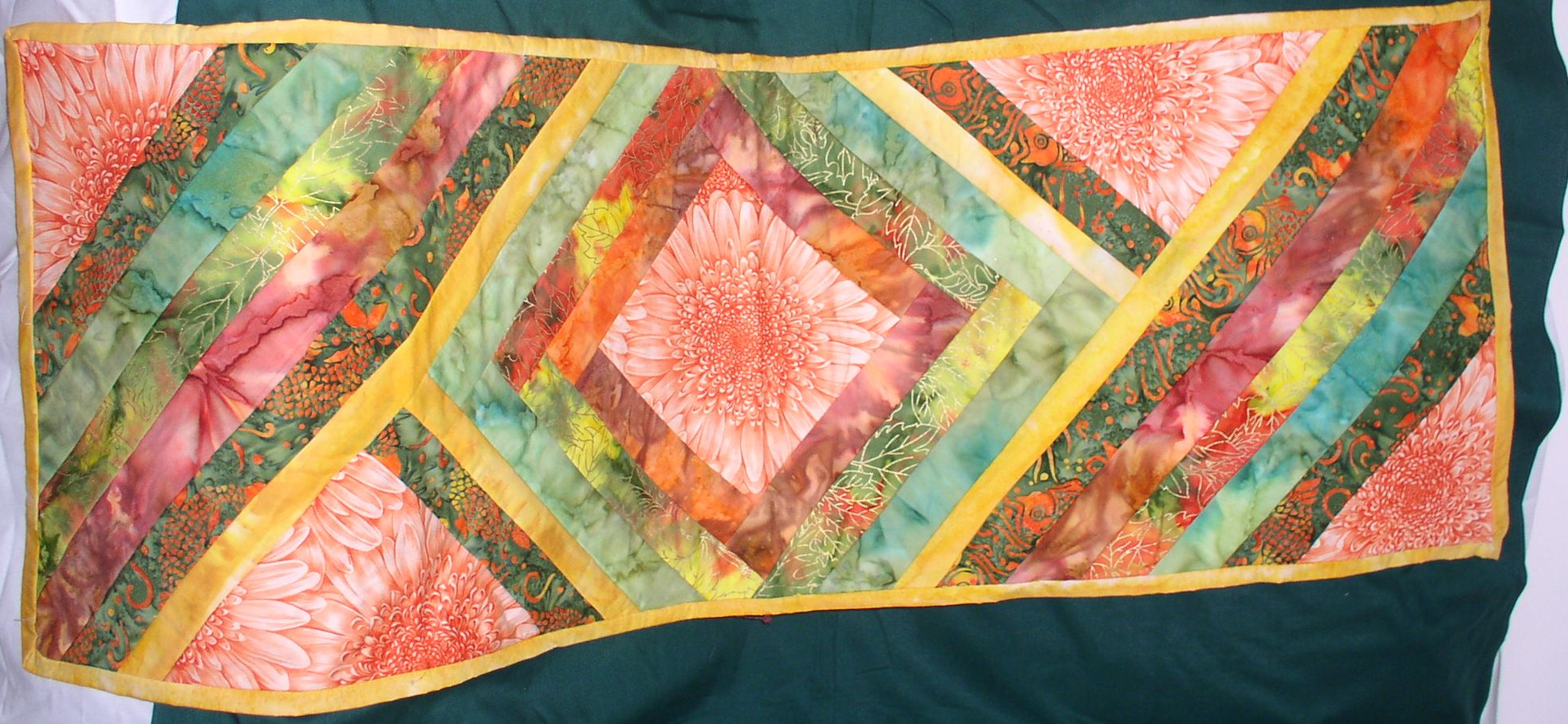 This Is A Table Runner Quilted, Using A Focus Fabric, In Center And 4 Other  Pieces, With Fabric That Compliments The Focus. This Is Rectangular For  Long ...